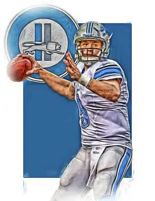 Mixed Media - Matthew Stafford Detroit Lions Oil Art 2 by Joe Hamilton