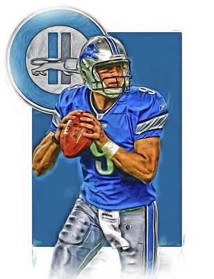 Mixed Media - Matthew Stafford Detroit Lions Oil Art by Joe Hamilton