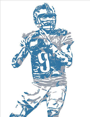 Mixed Media - Matthew Stafford Detroit Lions Pixel Art 5 by Joe Hamilton