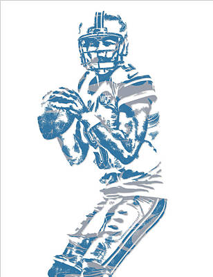 Mixed Media - Matthew Stafford Detroit Lions Pixel Art 6 by Joe Hamilton