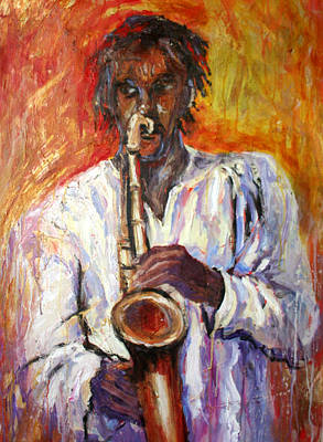 Painting - Matthias And Saxaphone by Susan Mains
