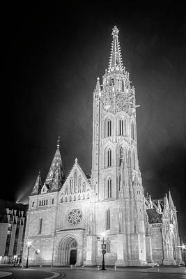 Photograph - Matthias Church Budapest Hungary Night Bw by Joan Carroll