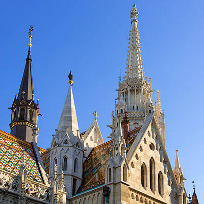 Photograph - Matthias Church Budapest Steeples by Matthias Hauser