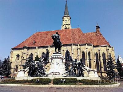 Photograph - Matthias Corvinus Monument And St. Michael Church by Erika H