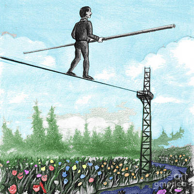 Mixed Media - Mature Man Walking A Tightrope Above Flowers by Lee Serenethos