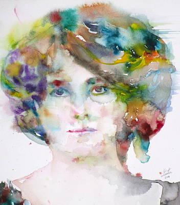 Maud Gonne - Watercolor Portrait Original by Fabrizio Cassetta