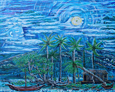 Canoe Mixed Media - Maui Pearl Moon by Podge Elvenstar