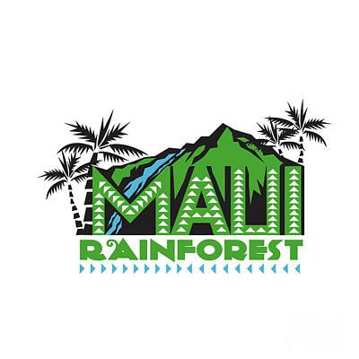 Maui Rainforest Retro Art Print