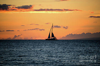 Photograph - Maui Sailboat Sunset by Kelly Wade
