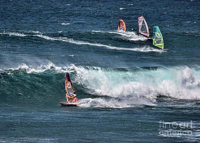Photograph - Maui Wind Surfers by Shirley Mangini