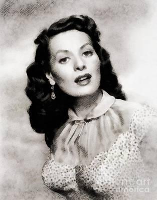 Maureen Painting - Maureen O'hara, Vintage Actress By John Springfield by John Springfield