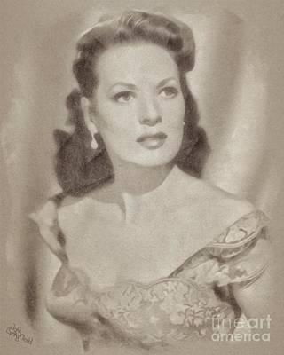 Maureen Drawing - Maureen O'hara, Vintage Hollywood Legend by John Springfield