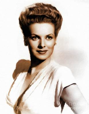 Maureen Painting - Maureen O'hara, Vintage Hollywood Legend by Mary Bassett