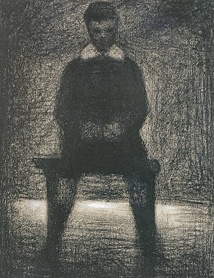 Impressionism Drawing - Maurice Appert Seated by Georges Pierre Seurat