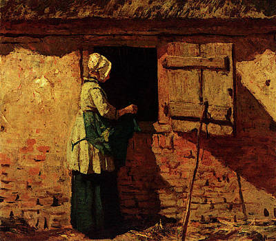 Anton Digital Art - Mauve Anton A Peasant Woman By A Barn by Anton Mauve