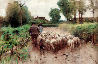Anton Digital Art - Mauve Anton Bringing Home The Flock by Anton Mauve