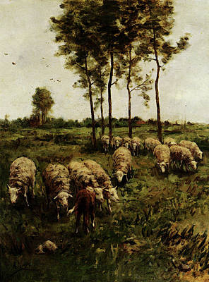 Anton Digital Art - Mauve Anton Watching The Flock by Anton Mauve