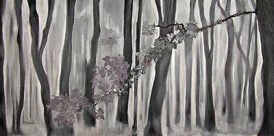 Wall Art - Painting - Mauve Leaves by Laura Gabel