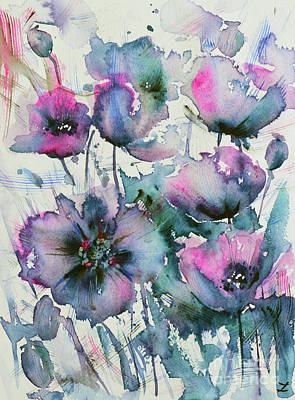 Painting - Mauve Poppies by Zaira Dzhaubaeva