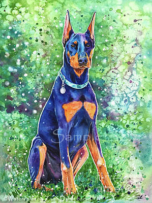 Doberman Pinscher Wall Art - Painting - Maverick by Zaira Dzhaubaeva