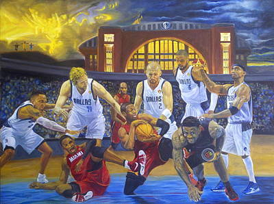 Lakers Painting - Mavericks Defeat The King And His Court by Luis Antonio Vargas