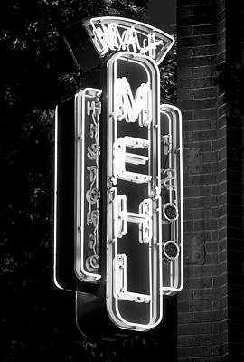 Photograph - Max Mehl Neon Sign B W 071218 by Rospotte Photography