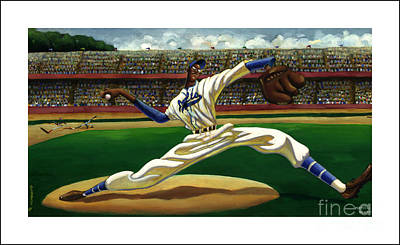 Baseball History Painting - Max On The Mound by Keith Shepherd