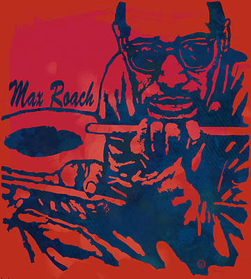Famous Musician Drawing - Max Roach Pop  Stylised Art Sketch Poster by Kim Wang