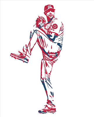 Mixed Media - Max Scherzer Washington Nationals Pixel Art 11 by Joe Hamilton