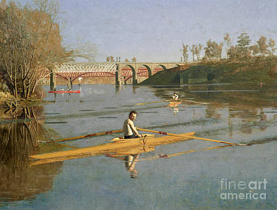 Sports Framed Photograph - Max Schmitt In A Single Scull by Thomas Cowperthwait Eakins