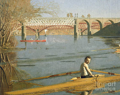 Max Schmitt In A Single Scull Art Print by Thomas Eakins