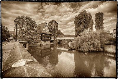 Photograph - Maxbrucke Bridge And Henkerturm Tower Nuremberg Germany Monotone 7r2_dsc7930_05102017 by Greg Kluempers