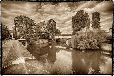 Photograph - Maxbrucke Bridge And Henkerturm Tower Nuremberg Germany Monotone 7r2_dsc7930_05102017 by Greg Kluempers