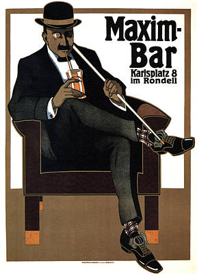 Mixed Media - Maxim Bar - Karlsplatz - Vintage Drinks Advertising Poster By Hans Rudi Ertz - Germany by Studio Grafiikka