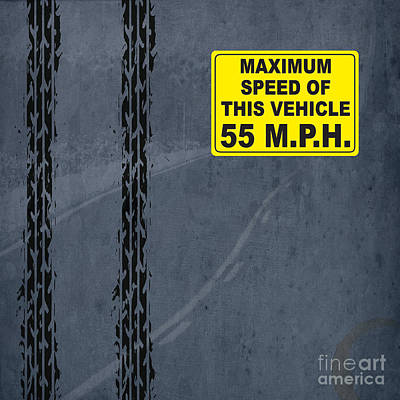 Asphalt Digital Art - Maximum Speed 55 Mph by Pablo Franchi