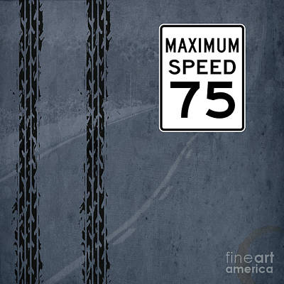 Asphalt Drawing - Maximum Speed 75 by Pablo Franchi