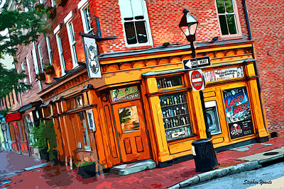 Fells Point Digital Art - Max's On Broadway by Stephen Younts