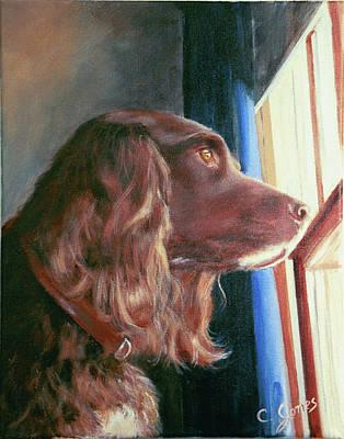 Wall Art - Painting - Maxwell, Dog In Window by C Keith Jones