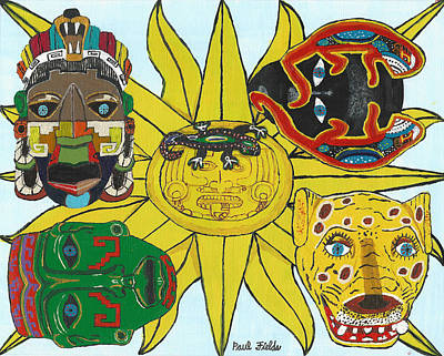 Painting - May  Aztec Masks by Paul Fields
