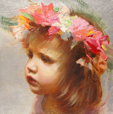 Toddler Portrait Painting - May Flowers by Anna Rose Bain