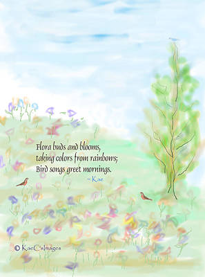 Digital Art - May Haiku With Drawing by Kae Cheatham