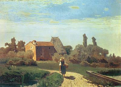 Italy Farmhouse Painting - May Morning by Guglielmo Ciardi
