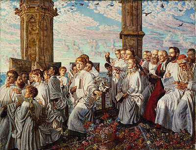 Hunt Painting - May Morning On Magdalen Tower by William Holman Hunt