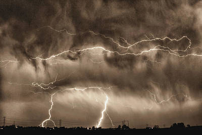 Unusual Lightning Photograph - May Showers - Lightning Thunderstorm Sepia Hdr by James BO  Insogna
