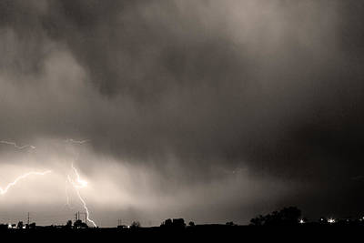 May Showers 3 In Sepia - Lightning Thunderstorm 5-10-2011 Boulde Print by James BO  Insogna