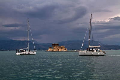 Photograph - Nafplio Habour Racing The Storm by Shirley Mitchell