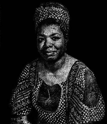 African-american Digital Art - Maya Angelou Text Portrait - Typographic Face Poster With The All Her Book Names by Jose Elias - Sofia Pereira