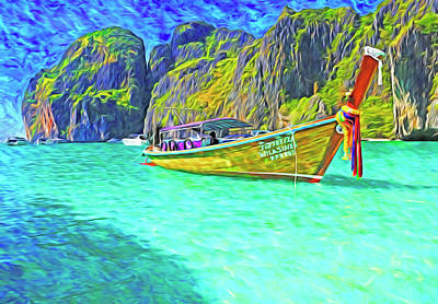 Photograph - Maya Bay Long-tail Boat by Dennis Cox WorldViews