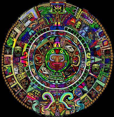 Calendars Mixed Media - Maya Calendar Redux by Myztico Campo