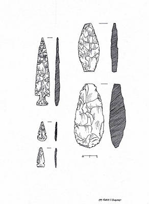 Drawing - Maya Stone Tools by Marcus England